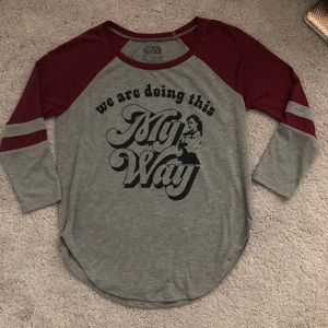 Star Wars Burgundy and Gray 3/4 sleeve Top